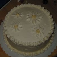 White On White Daisies I was bored and had left over icing, so I practiced icing and shell borders.