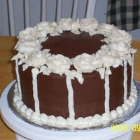 Chocolate Chocolate Cake, iced with Chocolate buttercream. All decorations are buttercream as well.
