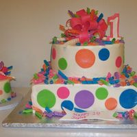 Colorful 1St Birthday The cake was request to have the same color of polka dots as the little birthday girl's dress. This was such a fun cake to do. The pic...
