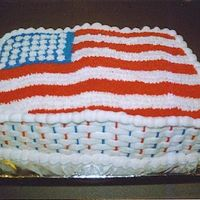 American Flag Cake American Flad Wilton Pan b.c. icing with alternating red and blue lines around the sides with the basket weaving, and shell border around...