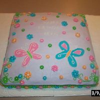 Butterfly Sheet Cake this was done free hand with b.c. icing