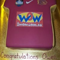 Bronco Jersey Choc mud cake with fondant icing. Pics printed out and laminated.