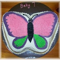 Bekys Butterfly vanilla cake with bc icing. My very first butterfly, not too bad.