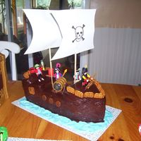 Pirate Ship Cake Pirate Ship Cake using Playmobil accessories