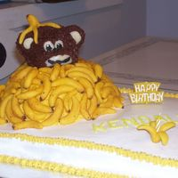 Going Bananas Cake for my nephew's first birthday inspired by other cakes on this site. I used candy clay for the bananas. Monkey came out looking...