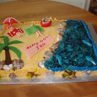 Beach Scene - 40Th Birthday Birthday cake for my son who wanted a beach scene with a palm tree. Made this with 2 9x13 pans - 1 chocolate, 1 white vanilla cake, iced in...