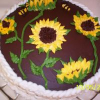 Sunflowers Chocolate cake with sour cream/choc frosting, and buttercream sunflowers