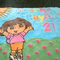 Happy Birthday From Dora The Explorer   Made this cake for my little one's 2nd birthday. The Dora and the text are done with the frozen buttercream transfer method.