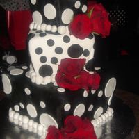 "Black And White Polka Dots This cake came from the movie ""Because I Said So"" Had so much trouble covering it but got through it. TFL."