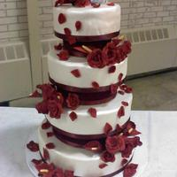 Angelic This is my twist on a cake originally done by Pink Cake Box, done for my grandson's wedding, and named after his bride. Dark red...