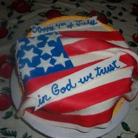 4Th Of July Cake   chocolate cake with buttercream icing fondant flag first time ever using fondant. I liked it!