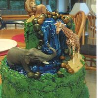 Jungle Birthday Cake this was a dummy cake I did for our county fair buttercream and fondantanimals are plastic