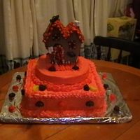 Halloween Birthday   This is a cake my son asked me to make for a co-workers Halloween birthday party.