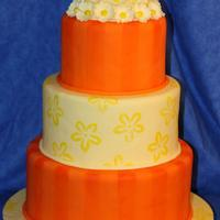 Ices 2010 - Flowers And Stripes This is the second cake I did to take the to the ICES Convention this year. Yellow is Crystal Colors Mimosa yellow. The orange is...