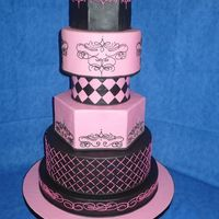 Pink & Black - Ices 2009 Pink and black fondant decorated in pink and black royal icing. I got the idea for the cake size/combination from a picture on here, while...