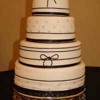 Licorice Lace This cake is covered in fondant and the thin black stripes and bows are in black licorice lace. This cake is featured in the Martha Stewart...