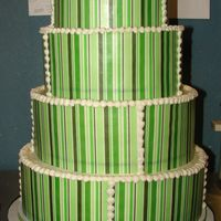 Green Stripes I printed the green stripes onto wafer paper and wrapped the sheets around the cake and cut them to size. I added a snail trail to cover...
