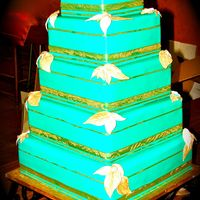 Teal Groom's Cake This is actually the groom's cake I made for my cousins wedding. This cake weighted 85 lbs.