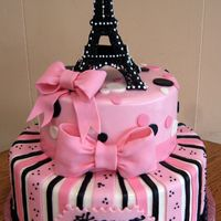 Pink Paris Cake Eiffel Tower is made from Royal Icing (a very long and painstaking process.) Cakes are covered with Marshmallow Fondant (MMF). Dots on the...