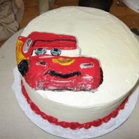"Disney's Cars I did the drawing on this cake for a friend and co-worker of mine. She finished it later with a top border and words. I only had a 1""..."