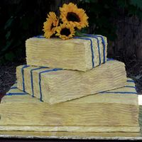 Hay Bales Full sheet, half sheet and quarter sheet cakes. Each three layers. Iced in SMBC, and combed for texture. Fresh sunflowers on top. Summer &#...