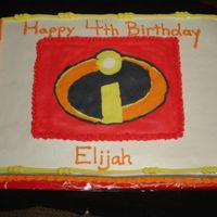 The Incredibles Emblem   A fbct of the Incredible emblem. A 1/2 sheet cake.