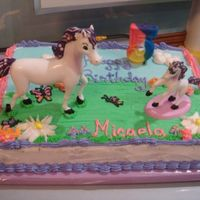 Unicorns A 1/4 sheet cake with the Unicorn theme figurines. My design was based on the invitation. It was difficult to keep the larger unicorn on...