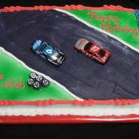 Racetrack I was asked to make a cake look like a cake from a grocery store. I had a hard time with the black icing.