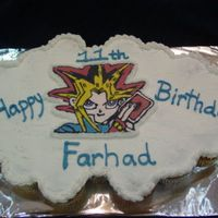 Yu-Gi-Oh   Cupcake cake with fbct of yu-gi-oh. Dream whip buttercream.