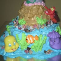 Front View - Ariel & Friends Cake Look at Flounder the fish & sebastian the crab. They look so cute.