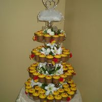 Vanilla & Chocolate Chips Cupcakes Top With Royal Icing Cupcakes Tier for Latifah's Wedding Dinner.