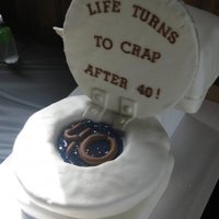 Toilet Cake Toilet cake for a 40th birthday. Entire toilet is cake covered in fondant (except for lid). Lid is cardboard covered in fondant. '...