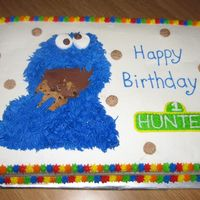 Cookie Monster White cake w/ white buttercream.