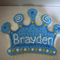 Boy Crown Crown cake using Wilton crown pan for my son's 1st birthday (see stacked crown cake picture - that went with it). All BC.