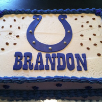 Colts Cake Colts cake with the name done in the font used for the Colts logo.
