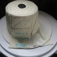 Toilet Paper Roll Toilet paper roll cake for 50th birthday. White cake covered in white fondant with black fondant center to look like 'roll'. Used...