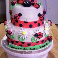 Ladybug Birthday Cake  Based on a cake by Pink Cake Box. French Vanilla Cake with BC filling. Covered in MMF and decorated with gumpaste ladybugs and RI daisies...