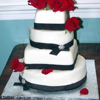 Roses & Crystal Broach Wedding Cake Based off a design by pink cake box.