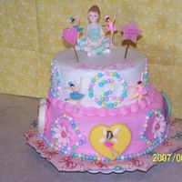 Ballerina Birthday Cake white cake covered with butter cream with candy melts, royal flowers and candy