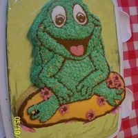 Frog Birthday Cake I made it with the Wilton frog pan. It is Chocolate cake with buttercream icing.