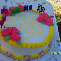 30Th Birthday Cake 30TH BIRTHDAY CAKEYELLOW CAKE WITH BUTTERCREAM ICING AND FLOWERS