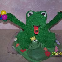3D Frog The frog is a pound cake covered with butter cream icing, He is sitting on a white cake made from a heart pan. The small frogs are fondant...