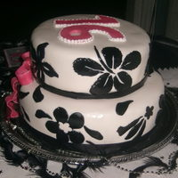 Sweet 16 16th bday cake theme black pink and white