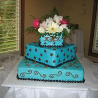 Img_0207.jpg  This is the cake the bride planned. She provided the flowers for the cake top. I don't think they matched. But the colors of the cake...