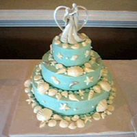 Blue Seashell Cake Frosted in Teal buttercream frosting, with white chocolate seashells, dusted with pear luster dust.