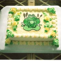 Frog Baby Shower Cake Customer wanted yellow & green with Frog as the theme. FBCT for the frog.