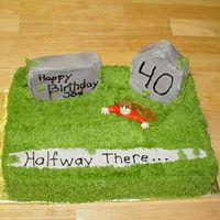 Halfway There Cake My friend asked me to make this cake for her DH's 40th. They all got a big kick out of it. The tombstone's are cake that I cut...