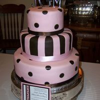 Pink & Brown Wedding Cake  Each tier is 3 layers high. The Bride wanted it to stand really tall. It is covered in MMF. The brown fondant was really difficult to get...
