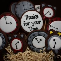 Thanks For Your Time   Rolled chocolate cookies and royal icing. Cookies were all cut by hand.