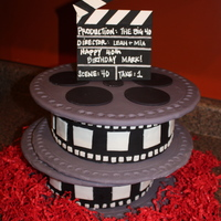 "Movie Reel Cake  This is a version of one that I saw on Cakeboxsoc.com This one isn't as nice as theirs, but it was a lot of fun to make. 2x 8""..."